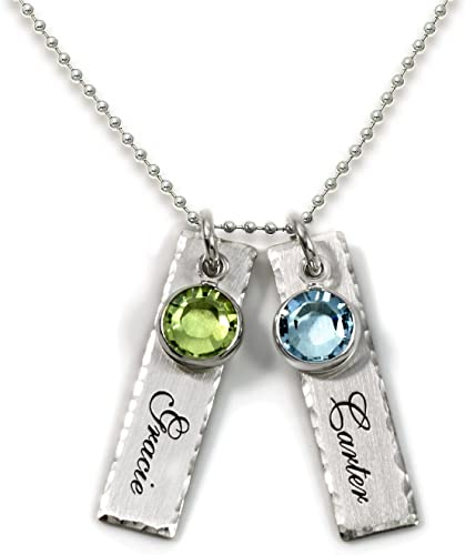 SADNESS N Personalized Charm Necklace Heart Pendant with 2 Name+2 Birthstones Necklace