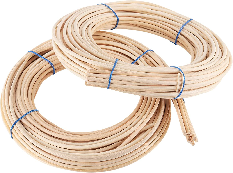 FAATCOI 2 Pack 0.2 Inch 65 Feet Round Reed Spline, Chair Cane for DIY Craft Rattan Cane Webbing Basket Wicker Weaving,