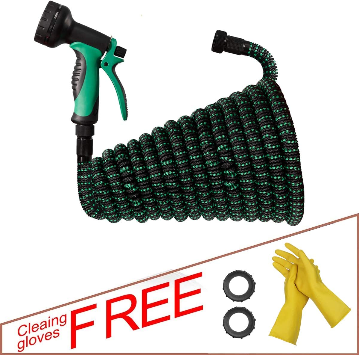 EQI Expandable Garden Hose 25 + 5 ft, 10 Function Hose Nozzle with Flexible Water Hose, Lightweight 3750D Fabric Retractable Hose 25 + 5 Feet with 3/4'' Aluminum Alloy Connector 3 Layers Latex Core