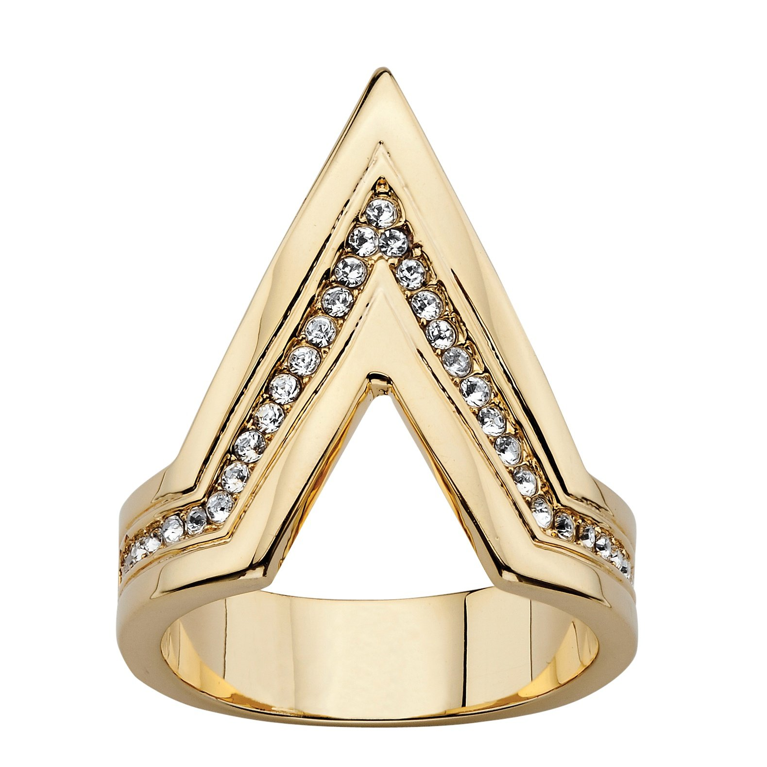 Seta Jewelry 14K Gold-Plated Round Crystal Chevron Ring Made with Swarovski Elements