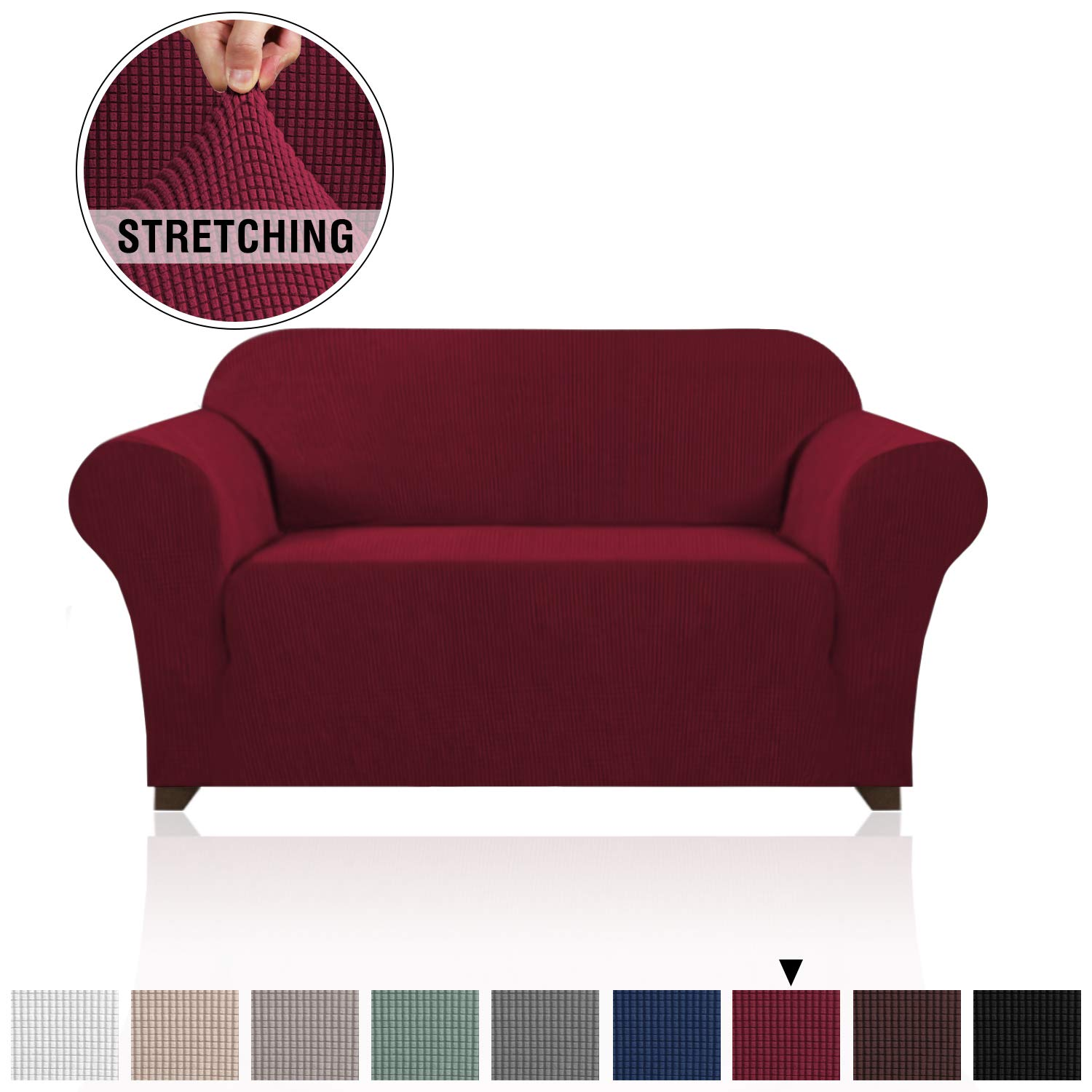 Lycra Jacquard Sofa Cover for Loveseat 1 Piece Furniture Protector/Cover for Sofa and Couch Stylish Polyester Spandex Jacquard Fabric Small Checks Sofa Slipcover (Loveseat, Burgundy Red)
