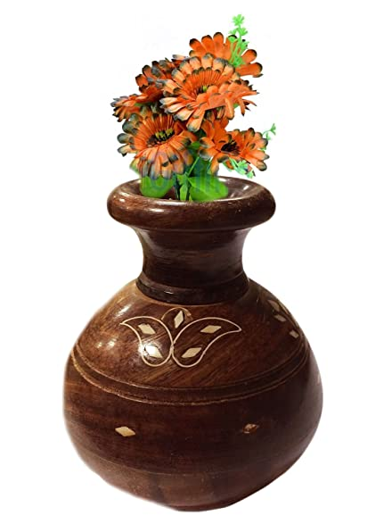 Amazon Christmas Gift Wooden Flower Vase With Brass Carving