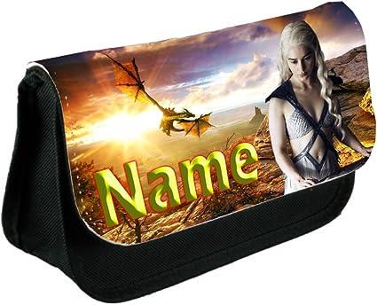 Tienda £ Save Juego de Tronos personalizado nombre añadido estuche o bolsa de maquillaje, color negro: Amazon.es: Oficina y papelería