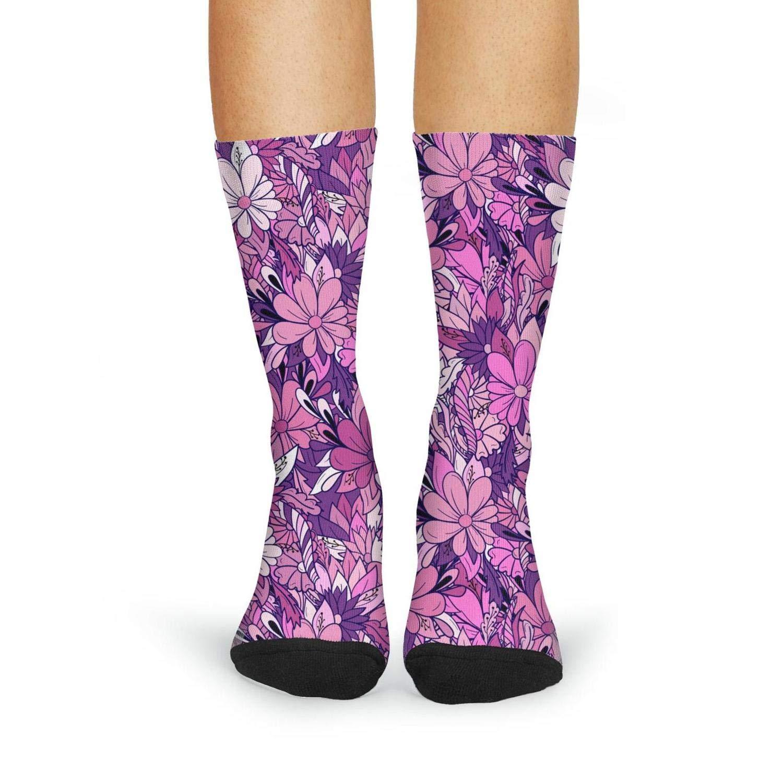 Novelty pink daisy flowers jewelry Fashion Women's Sporty Knee High Socks