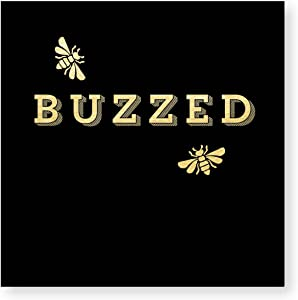X&O Paper Goods Black and Gold ''Buzzed'' Bee Beverage and Cocktail Napkins, 20pc, 5'' W x 5'' L