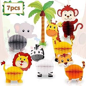 Distaratie Jungle Safari Animals Honeycomb Centerpieces 3D Table Decorations for Jungle Safari Birthday Baby Shower Party Decorations Supplies Set of 7