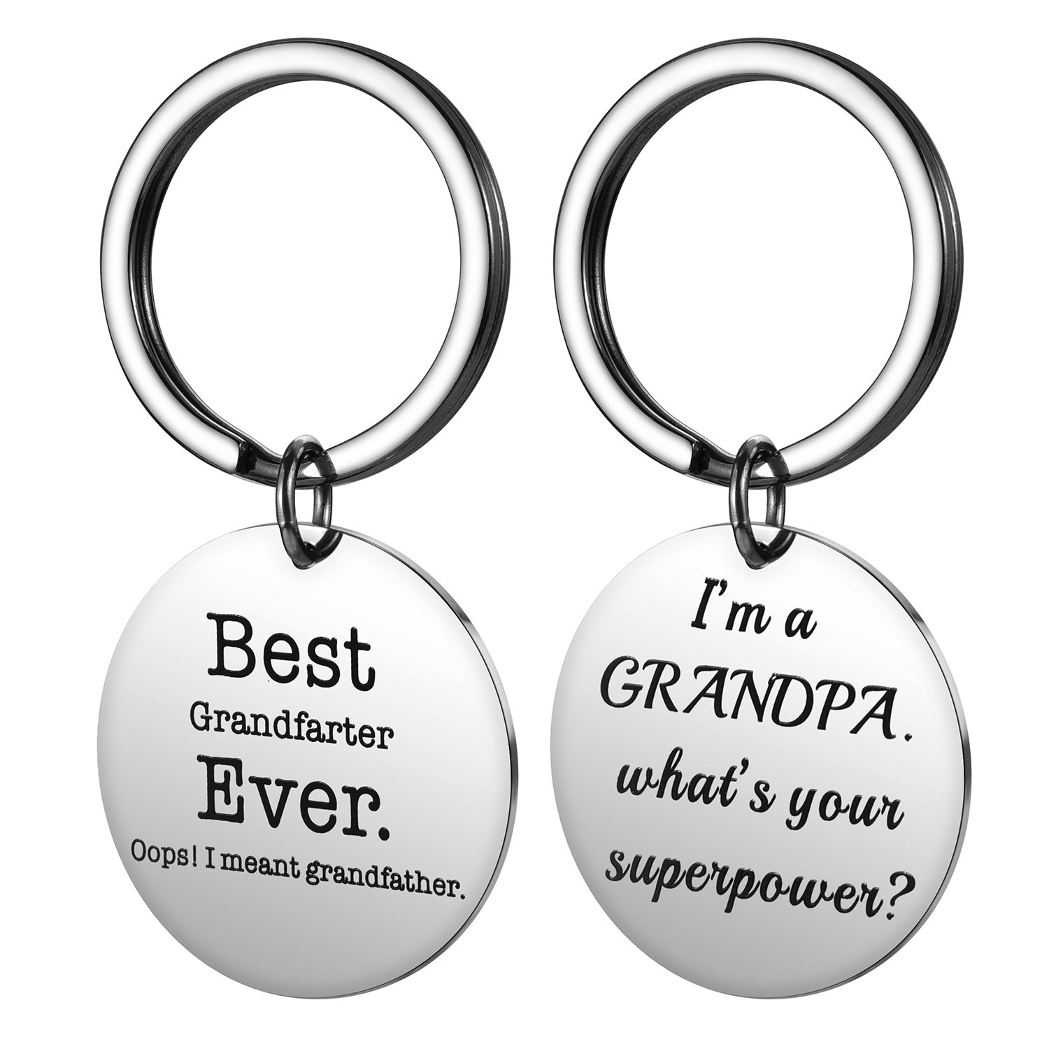 Alxeani Fathers Day Gifts for Grandpa, Grandpa Keychain Best Grandfarter Ever Meant Grandfather Gift Stainless Steel 2Pcs