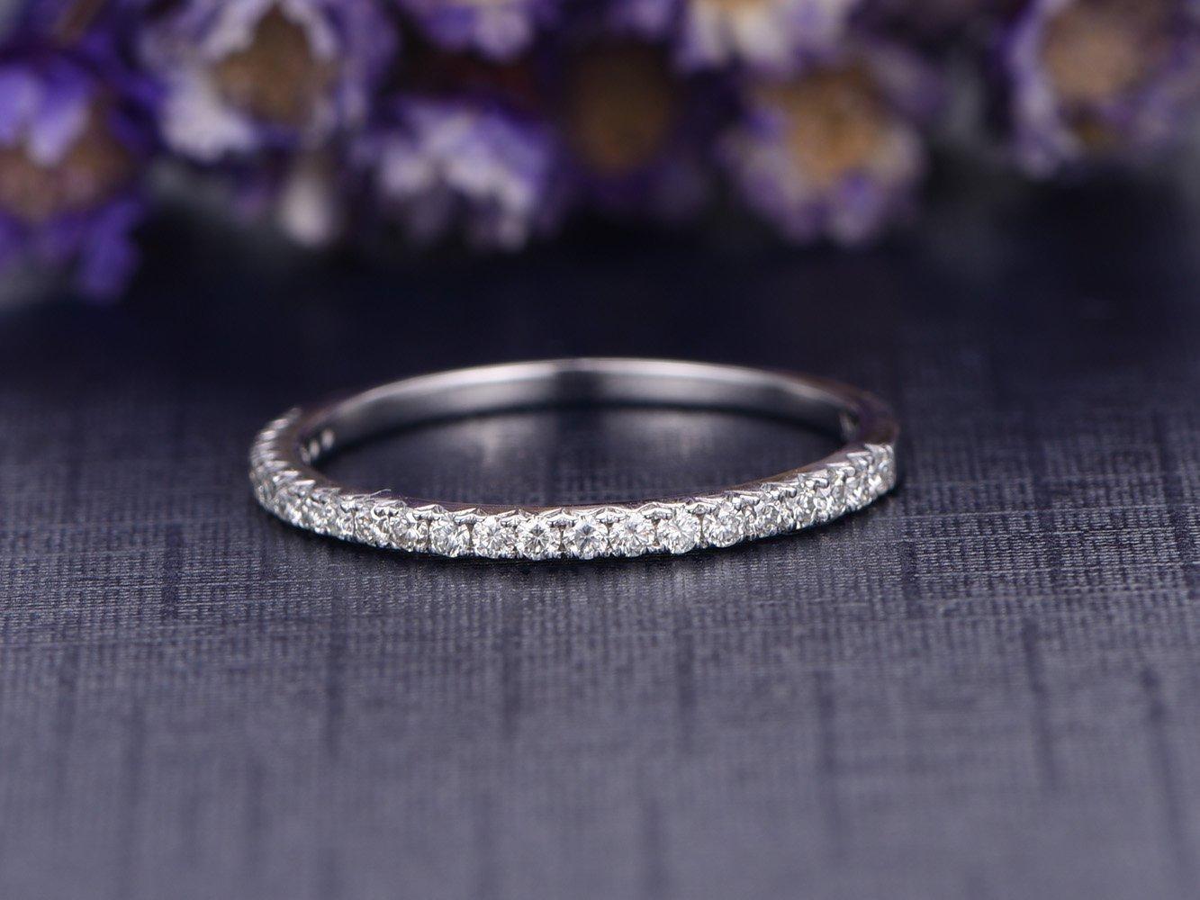 Petite V Pave Diamond Wedding Band,Half Eternity 14K White Gold Reco Bridal Promise Ring,Diamond Engagement Ring,Anniversary,Thin Band by Myraygem