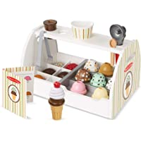 Melissa & Doug Wooden Scoop & Serve Ice Cream Counter (Play Food and Accessories, 28 Pieces, Realistic Scooper, Great…