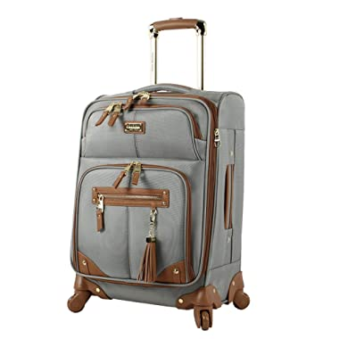 Steve Madden Luggage Carry On 20  Expandable Softside Suitcase With Spinner Wheels (20in, Harlo Gray)
