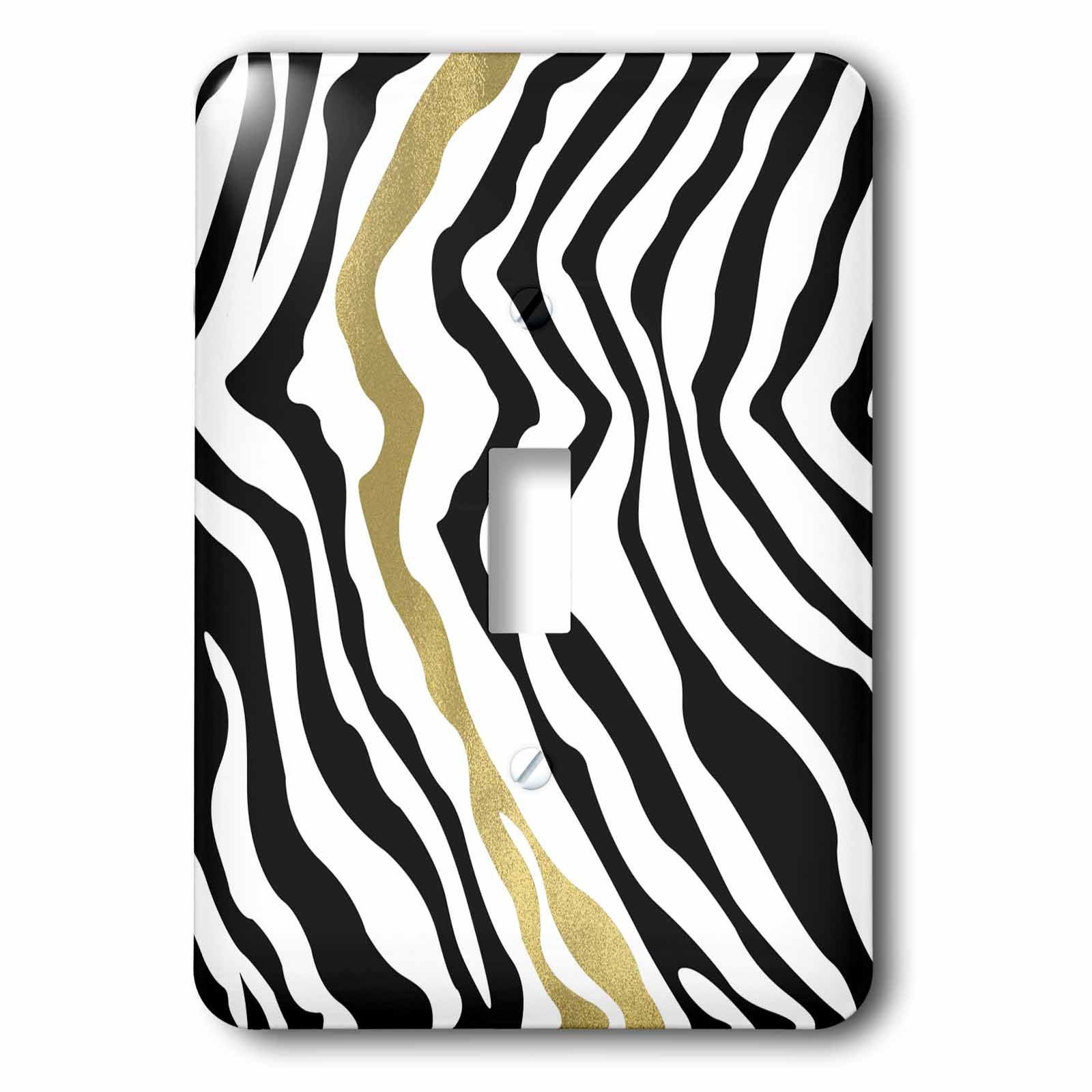 3dRose PS Animal Print - Black Gold Glam Zebra Stripes - Light Switch Covers - single toggle switch (lsp_265706_1)