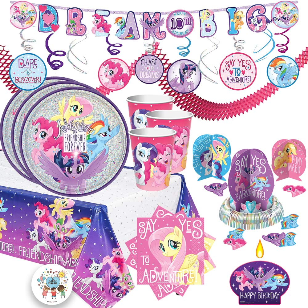 My Little Pony Mega Birthday Party Supplies Pack For 16 Guests With Prismatic Plates, Napkins, Tablecover, Candle, Swirl Decoration, Birthday Add An Age Banner, Table Decorating Kit, and Exclusive Pin by Another Dream