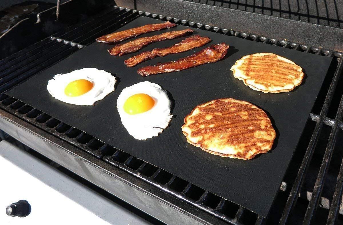 Febbya Tappetini da Barbecue,3 Pack Antiaderenti Tappetini da Griglia Resistenti Riutilizzabile Fogli per BBQ Forno 40x33cm Teflon FDA Nero