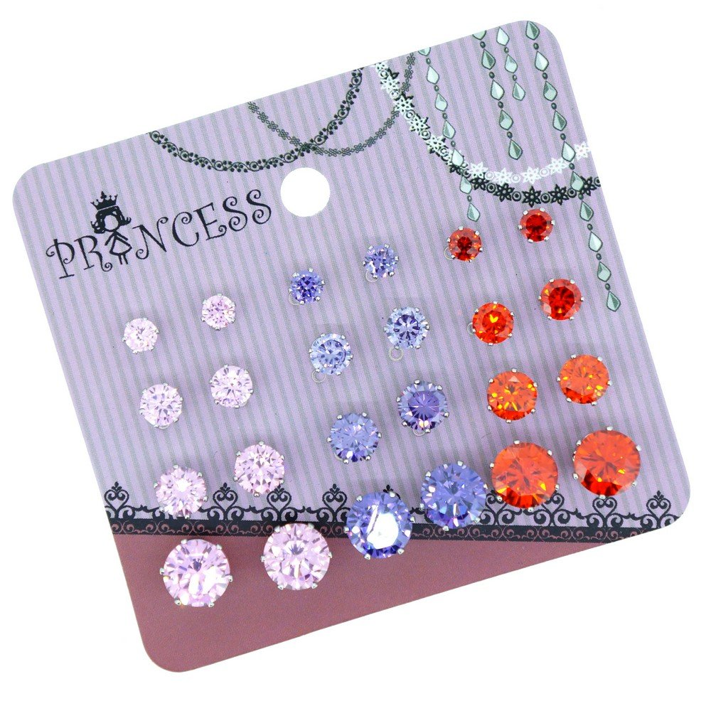 Pack of 12 Pairs Cubic Zirconia Crystal Magnetic Stud Earrings Mix Size Color (Golden Topaz Set) Princess-J