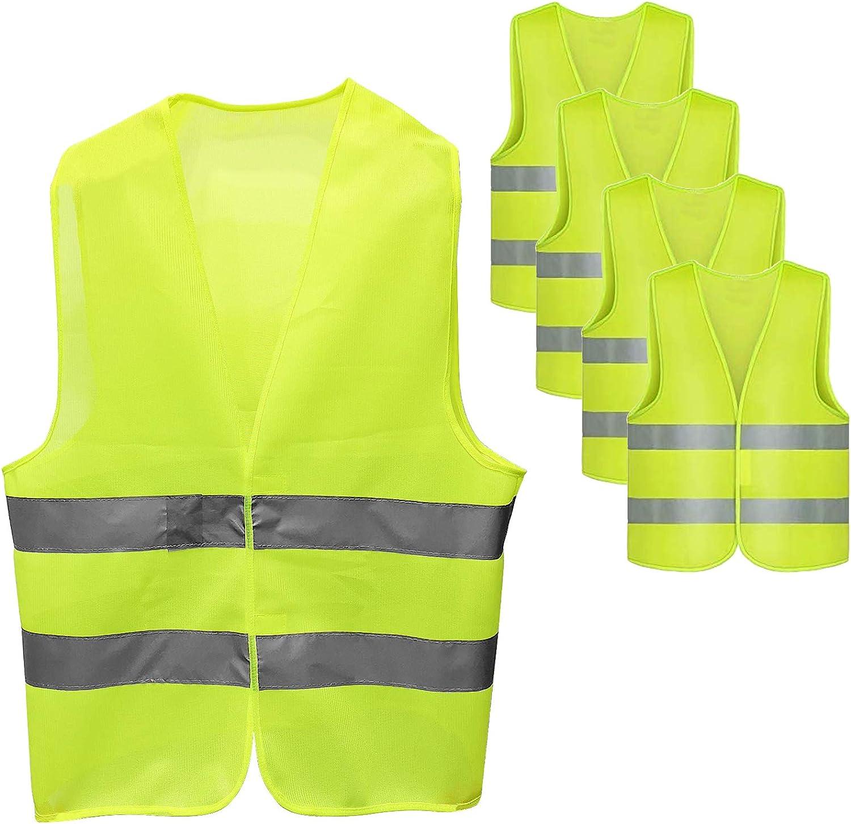 Santoo 4 Stk Warnweste Auto Sicherheitsweste Warnschutzweste 360 Grad Reflektierende Streifen Waschbar Reflekorweste Mit Klettverschluss Für Auto Kfz Fahrrad Motorrad Auto