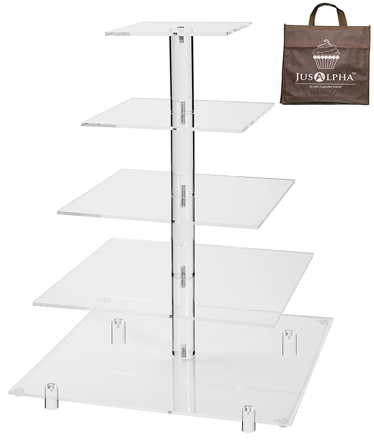 Jusalpha 5 Tier Acrylic Square Wedding Cake Stand/Cupcake Stand Tower/Dessert Stand/Pastry Serving Platter/Food Display Stand (5SF) COMINHKPR87107