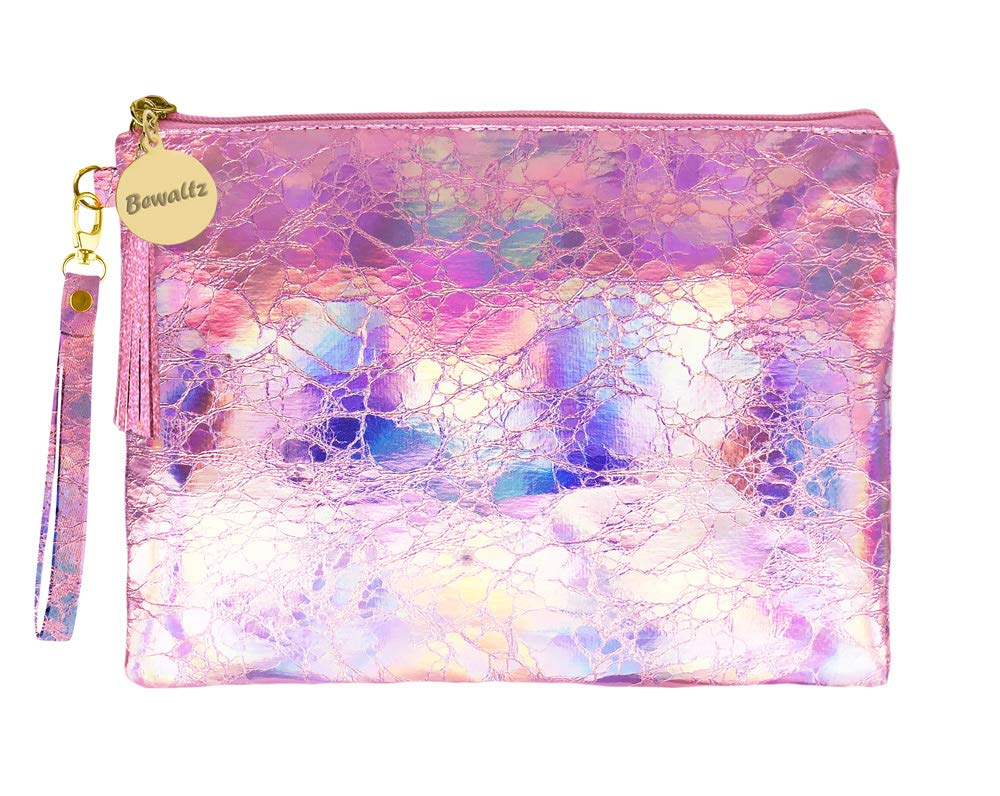 Bewaltz Wristlet Holographic Makeup Pouch Handbag Multifunctional Clutch Bag Makeup Bag Cosmetic Bag Makeup Bag Toiletry Travel Bag Handy Large Protable Wash Pouch, Waterproof, Pink