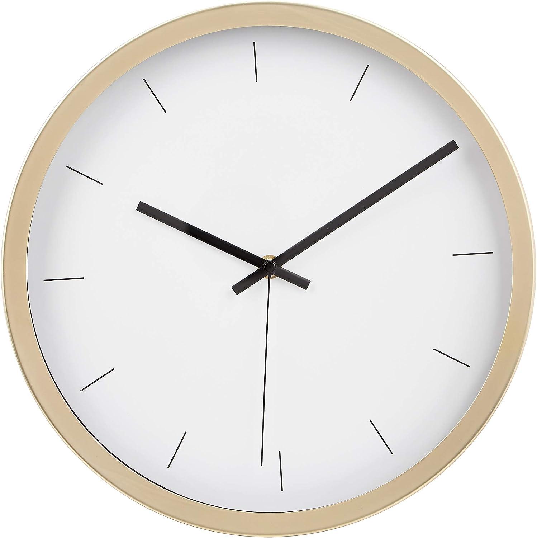 AmazonBasics - Reloj de pared moderno, 30,5 cm, latón