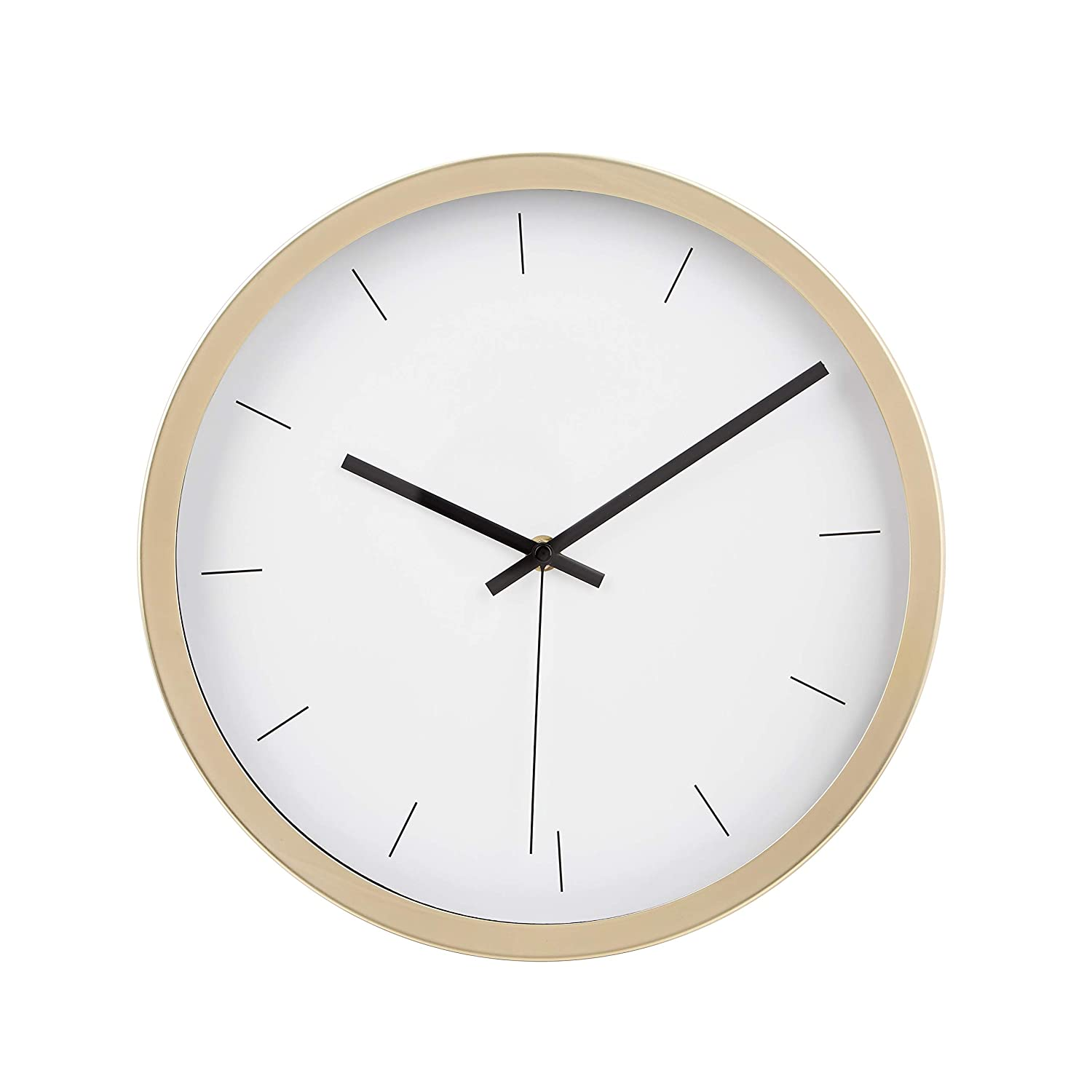 "AmazonBasics 12"" Modern Wall Clock, Brass"