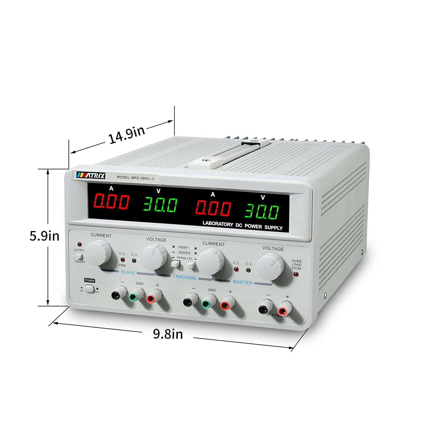 Matrix Triple-Output Adjustable Linear DC Power Supply 30V 5A 3 Digits Display with Series and Parallel Mode OCP US Power Cable MPS-3005L-3