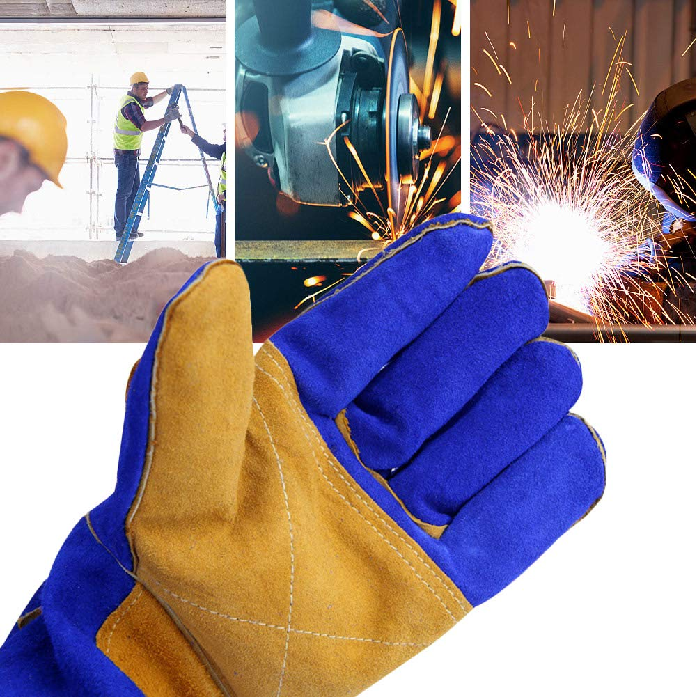 guantes de soldadura de cuero resistente al calor guantes de protección ignífugos mitones con manga larga para herrero tig mig soldador bbq parrilla ...