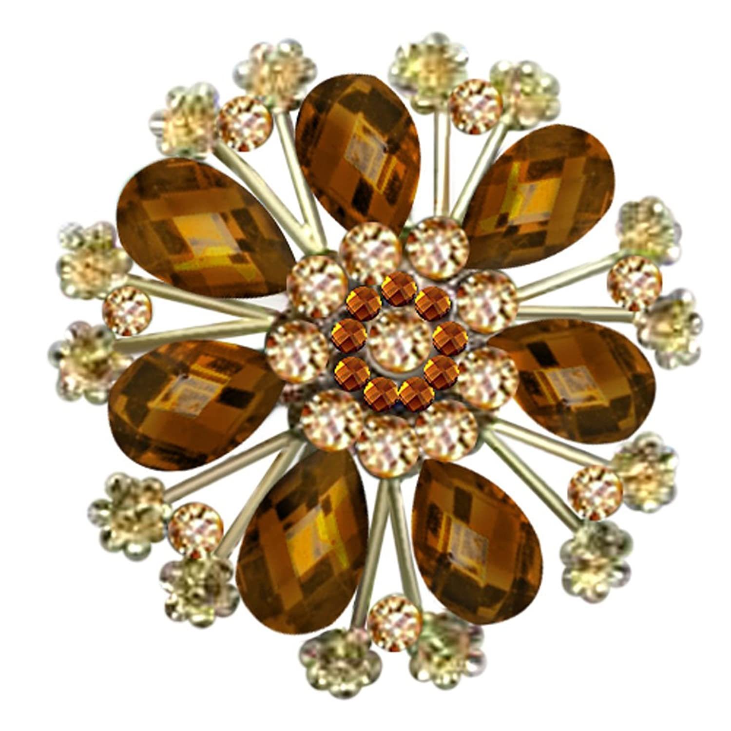 JewelryHouse Gold Plated Fancy Imitation Crystal Circle Round Flower Brooch Pin
