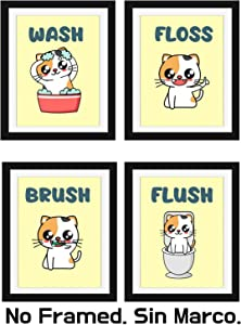 Modern 5th - Kids Bathroom Signs Cute Cat Print with Mini Wall Stickers (Set of 4 Unframed-8X10 Inches), Teens, Boys and Girls Funny Bathroom Sign Wall Art Decor Prints, Colorful Art Poster (Option2)
