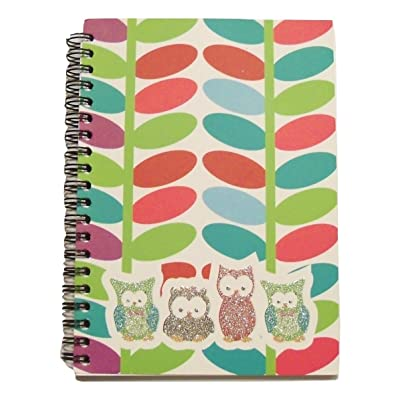 "American scholar Hootin Good Time Spiral Notebook ~ Glittery Multicolored Owls with Plant Background (80 Sheets, 160 Pages; 5"" x 7""): Toys & Games"