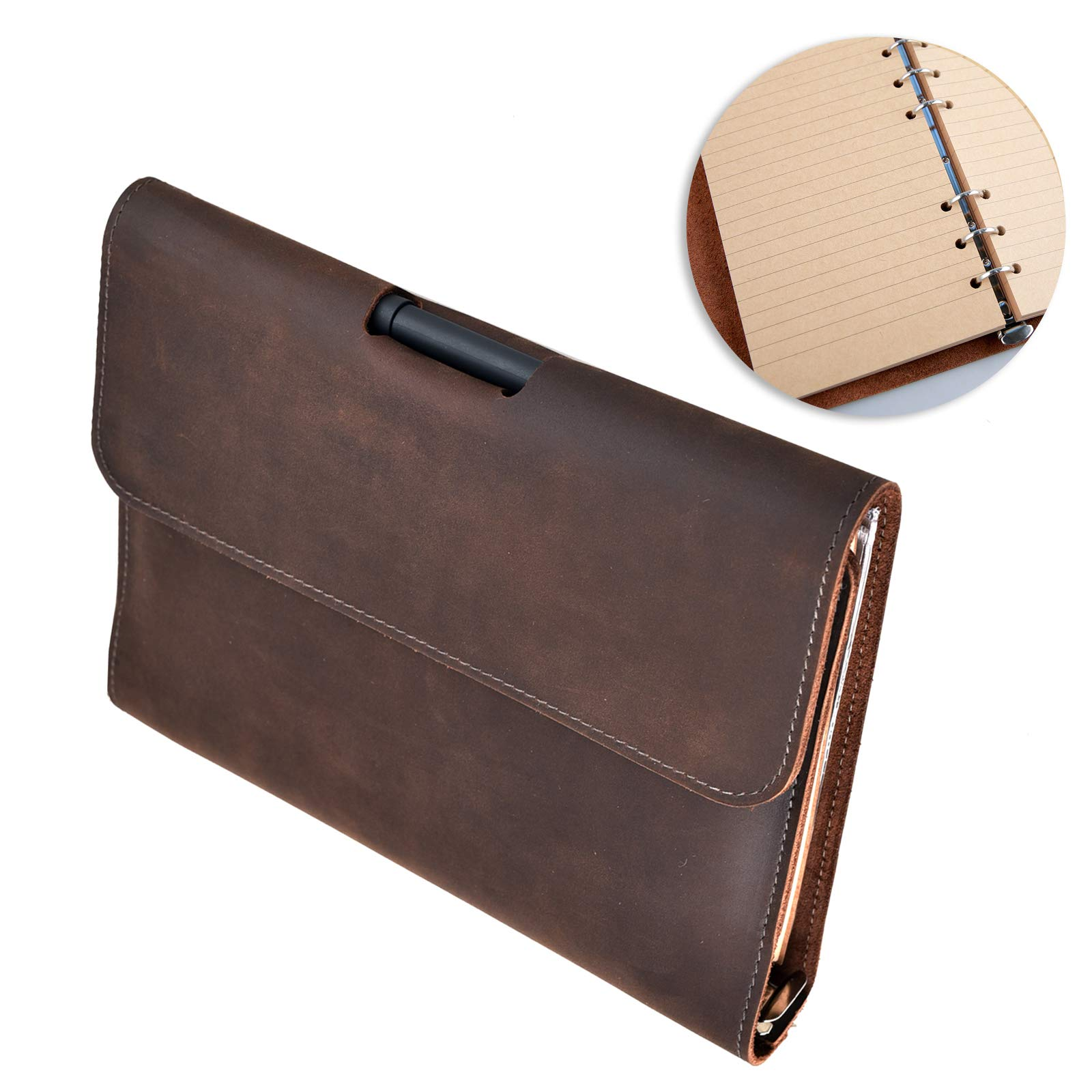 Leather Journal Notebook Refillable, with Pen Loop Writing Bound Diary Book for Men Women, Padfolio Lined Paper Handmade Genuine Leather Travel Notepad Cover, 160 Pages A5 Vintage Gift