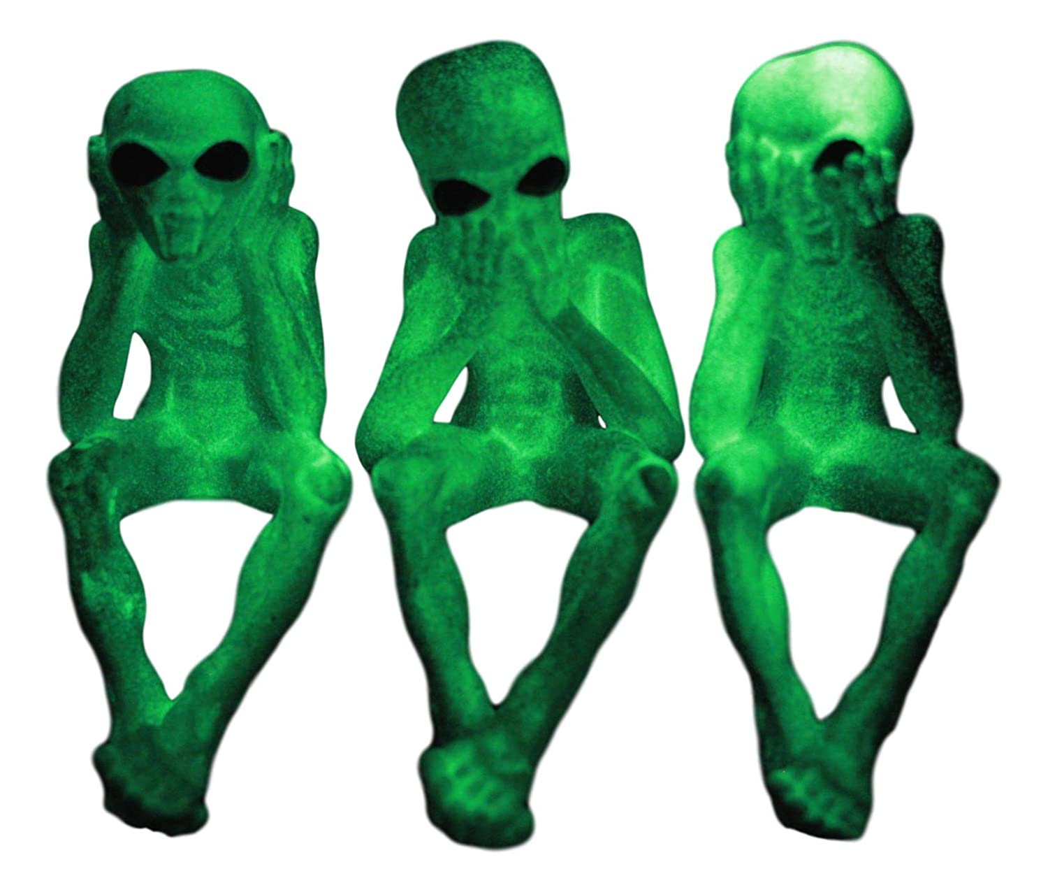 Ebros Glow in The Dark See Hear Speak No Evil Alien Shelf Sitters Set of 3 Extra Terrestrial Creatures Alien Figurines