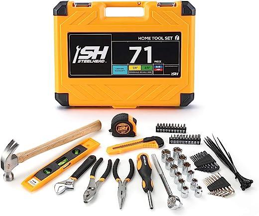 "STEELHEAD 71-Piece Tool Set, 3/8"" Sockets, Screwdriver Handle w/ 10 Bits, Pliers, Tape Measure, Hammer, Utility Knife, Ties, Heavy-Duty Reinforced Case, Great for Home, Office, Dorm, USA-Based Support"