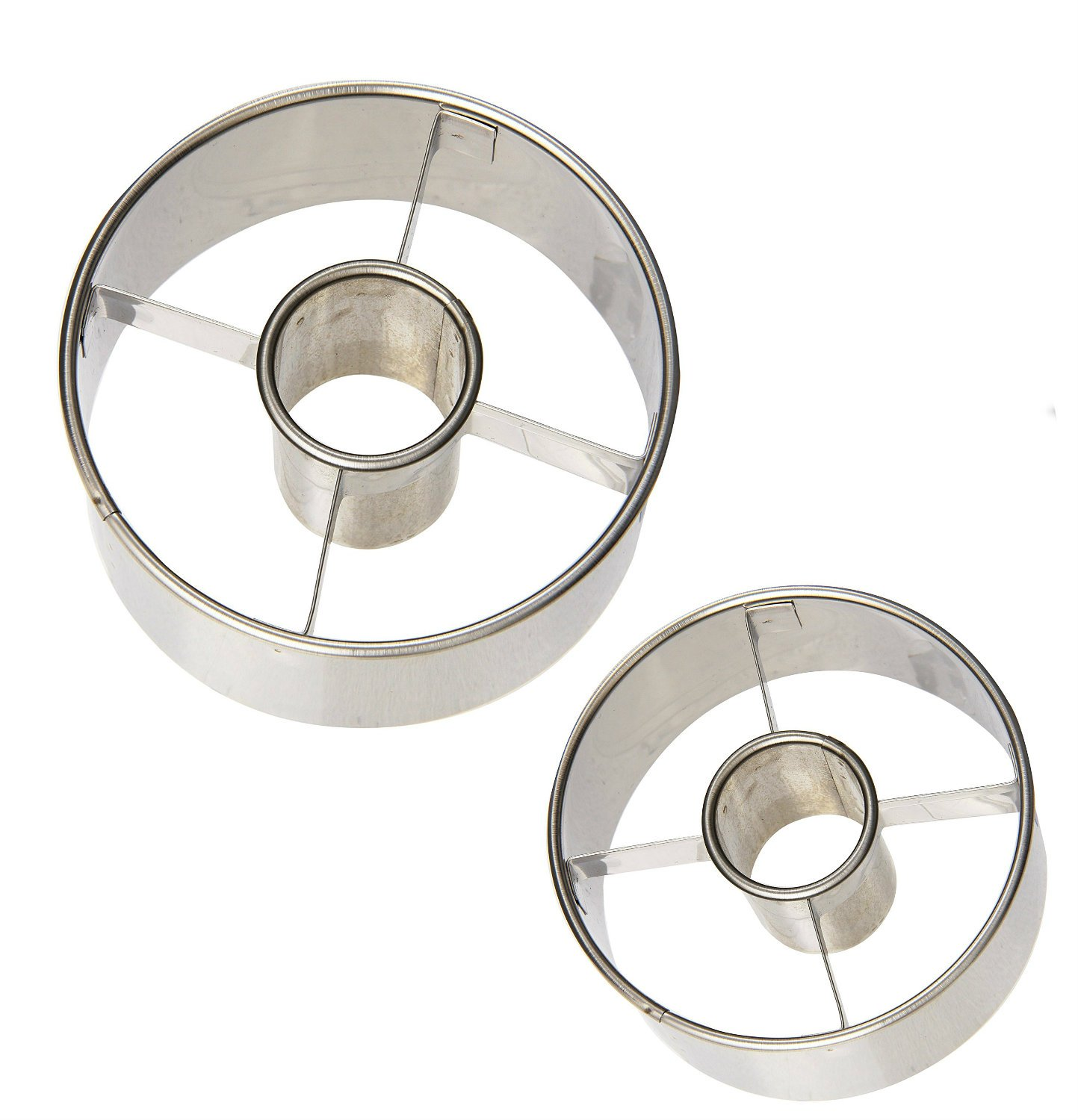 Ateco Stainless Steel Donut Cutter Set of 2 : Ø 2 1/2'' and 3 1/2''.