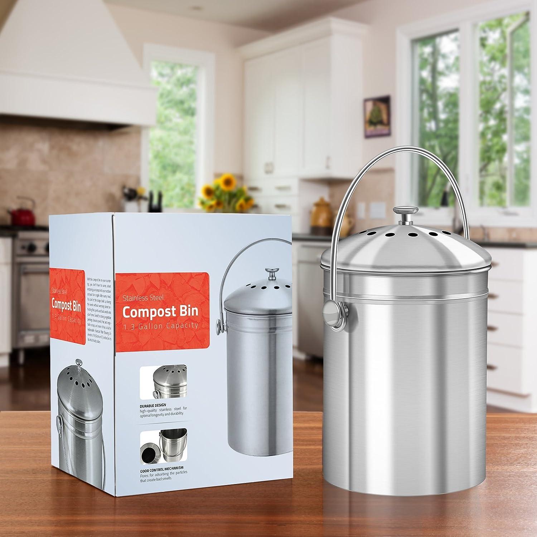 Utopia Kitchen [5 Litros] Recipiente de compostaje de acero ...