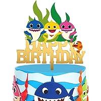 Gold Acrylic Baby Shark Happy Birthday Cake Topper Cartoon Baby Shark Theme Kids Birthday Party Suppliers Shark Family…