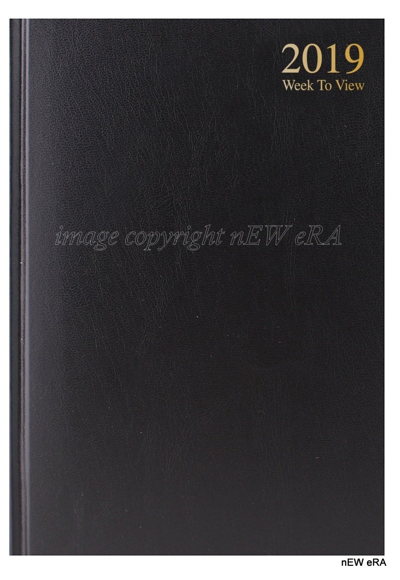 2019 A5 Week to View Diary - WTV A5 Planner Hardback Cover Casebound Black Newera