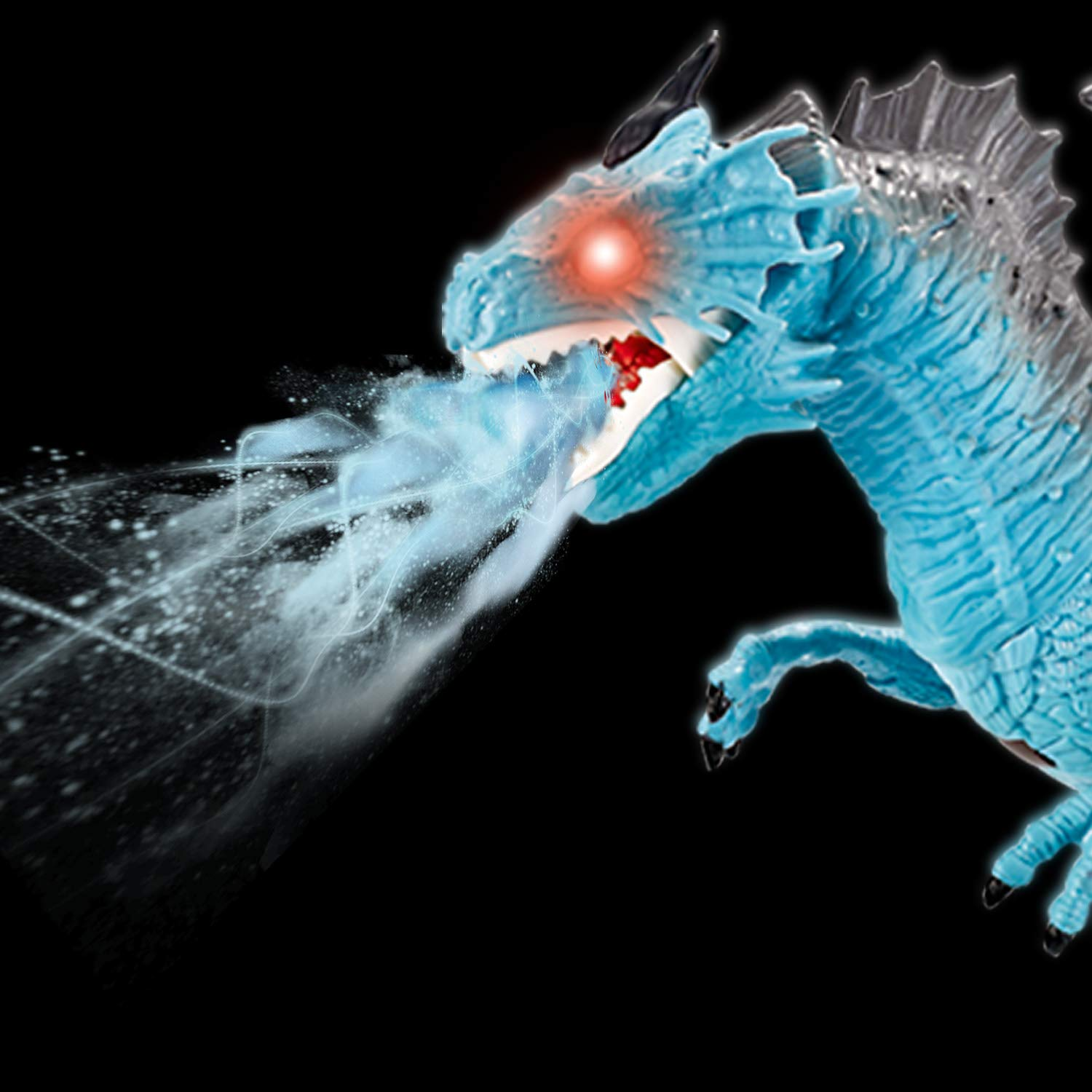 Liberty Imports Dino Planet Remote Control RC Walking Dinosaur Toy with Breathing Smoke, Shaking Head, Light Up Eyes and Sounds (Ice Dragon (with Smoke)) by Liberty Imports (Image #3)