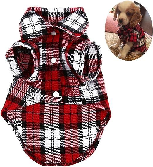 Legendog Ropa para Perros Moda Camisa De Algodón A Cuadros Tops Camisas del Animal Doméstico Perro Chaqueta De Abrigo: Amazon.es: Productos para mascotas