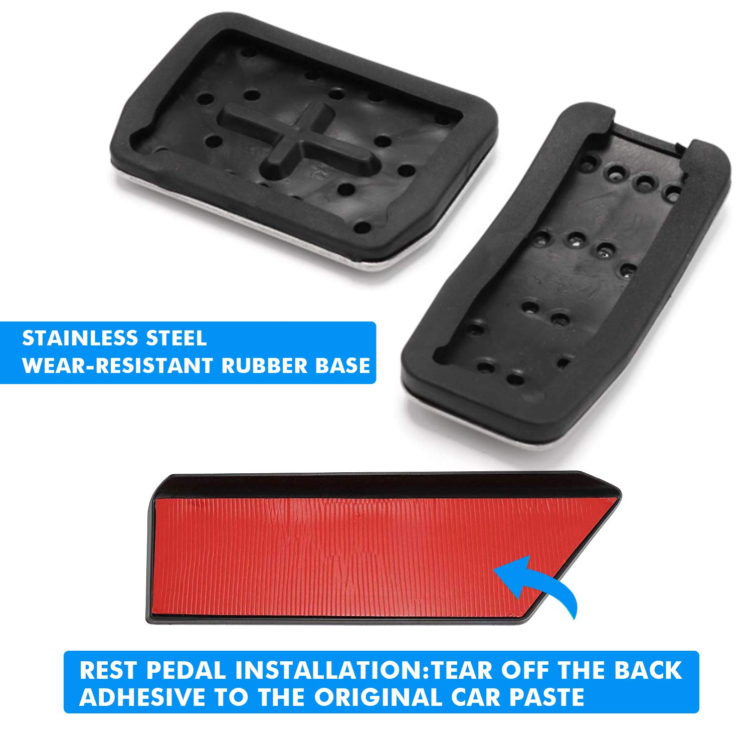 Left Foot Rest Dead Pedal Mats Stainless Steel Non Drill Set for Tesla Model 3 Car Accessories Brake Pedal Performance Pedal Covers Pads for Model 3 Accelerator Pedal