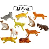 "Miniature Authentic Cat Figurines Toys - 12 Assorted , 2"" Inch - For Kids, Boys, Girls, Cat Lovers, Play, Decoration, Gifts, and Party Favors - Kidsco"