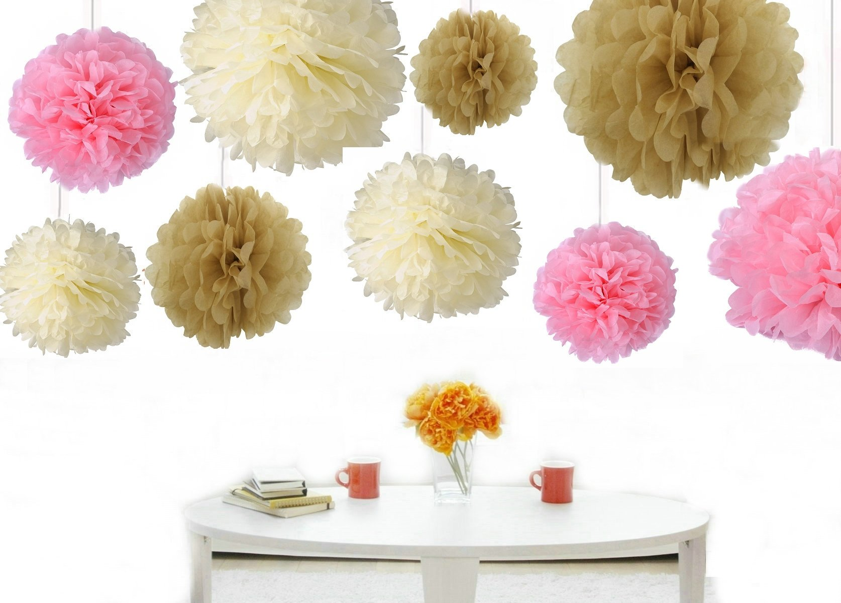 Kubert® Mixed 8'' 10'' 14'' 3 Sizes Ivory Pale Pink Tan Brown Party Tissue Paper Flower Pom Poms Wedding Pompoms Garland Birthday Party Baby Room Nursery Decoration(18PCS )
