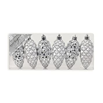 Roller Christbaumschmuck Silber 6 Zapfen 9 Cm Amazon De