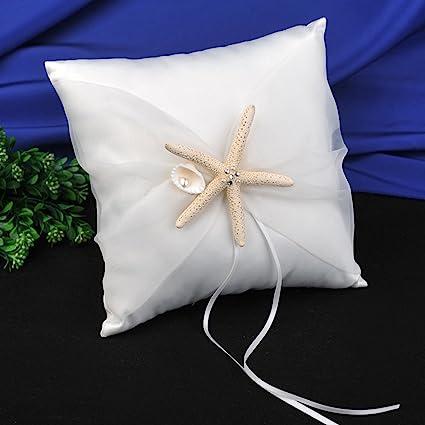 Amazoncom Topwedding Beach Theme Ivory Wedding Ring Bearer Pillow