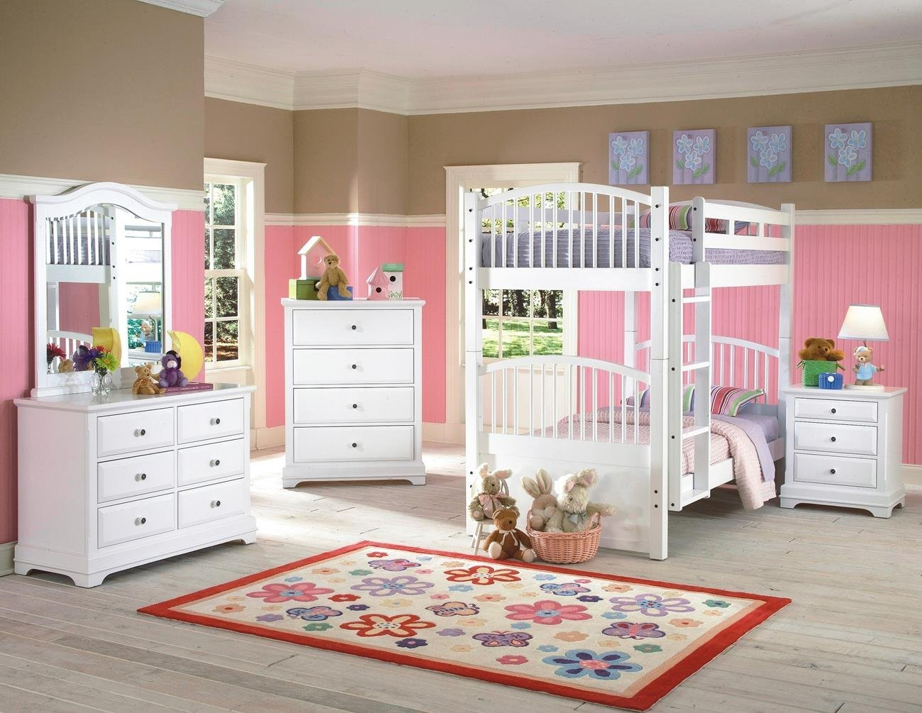 Beatrice Youth 5 Piece Twin/Twin Bunk Bedroom Set in White Finish by NCF Furniture