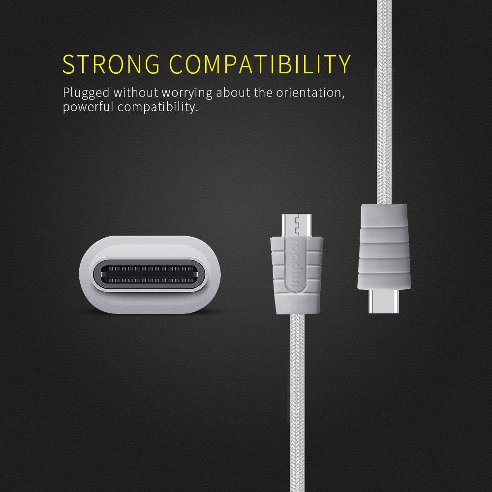 (2-Pack 3.3FT) USB Typ C Kabel, Roadwi USB 3.0 auf USB C-Kabel Nylon-Flechtschnur für Samsung Galaxy Note 8 S8, Google Pixel 2 XL, Moto ZZ2, LG V30 G5 G6 V20 Nintendo Switch Mehr (Grau)