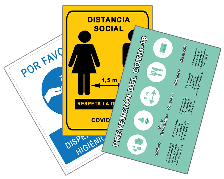 Señalización Coronavirus COVID19 | Señales Dispensador Jabón + Distancia Social + Pautas | Carteles para Empresas, Comercios, Oficinas | Autoinstalable y Resistente al Agua | 21 x 30 cm