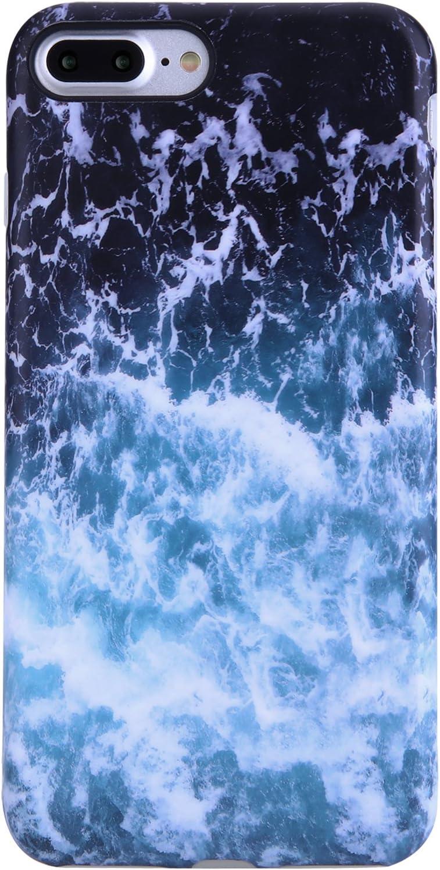 iPhone 7 Plus Case,iPhone 8 Plus Case,VIVIBIN Cute Blue Sea Waves for Men Women Girls,Clear Bumper Soft Silicone Rubber Matte TPU Best Protective Cover Slim Fit Phone Case for iPhone 7/8 Plus
