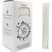 Upnjoy Papieren rietjes, 250 stuks, wit, recyclebaar, voor dranken met en zonder alcohol, geschikt voor cocktails en sap…