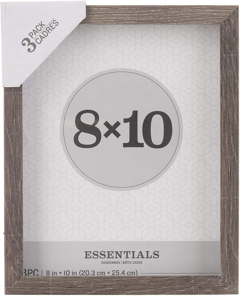 Darice Essentials Gray Shadow Box 3Piece 8 X 10