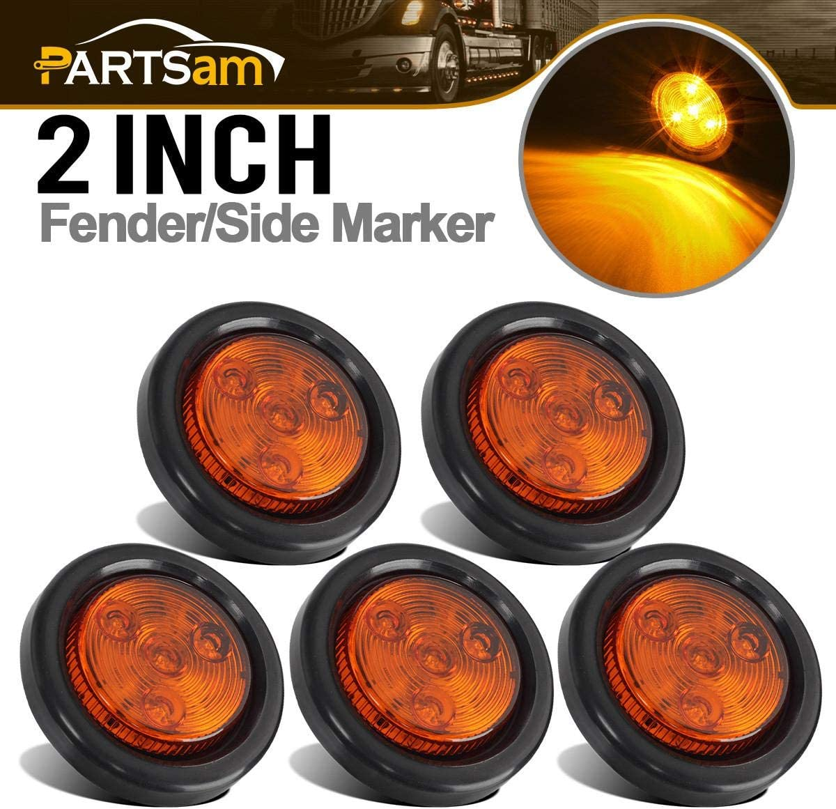 Pair of LED 2.5 Round Amber Clearance//Side Marker Lights with Grommets and 2 Pole Wire Connectors for Trucks RVs Trailers