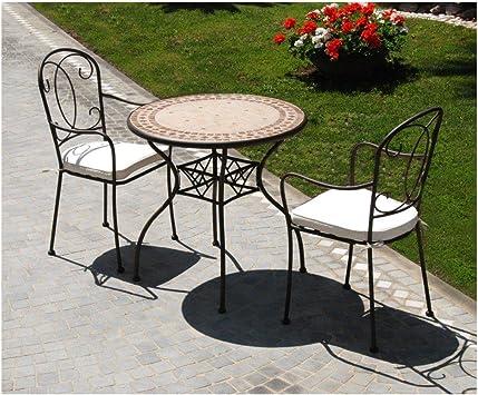 Table en fer battu Modèle en marbre Groove plan Mosaique 78 ...